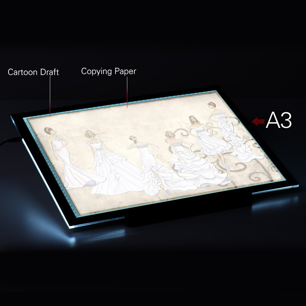 Product details of A3 47 * 37cm 21.4 inch LED Artist Stencil Board Tattoo Drawing Tracing Table Display Light Box Pad LED Copy Board Intelligent Touch ...