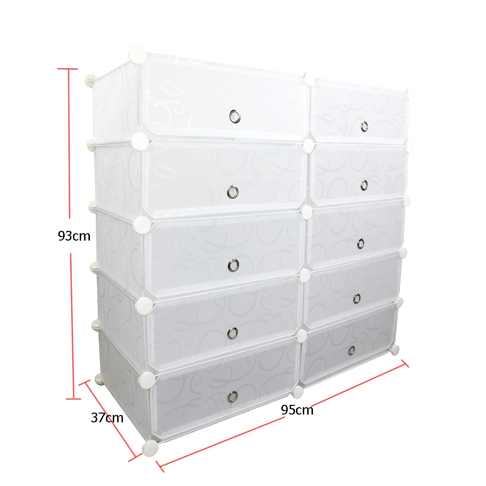 Unicorn Selected 10 Cubes DIY Storage Plastic Shoe Cabinet (White ...