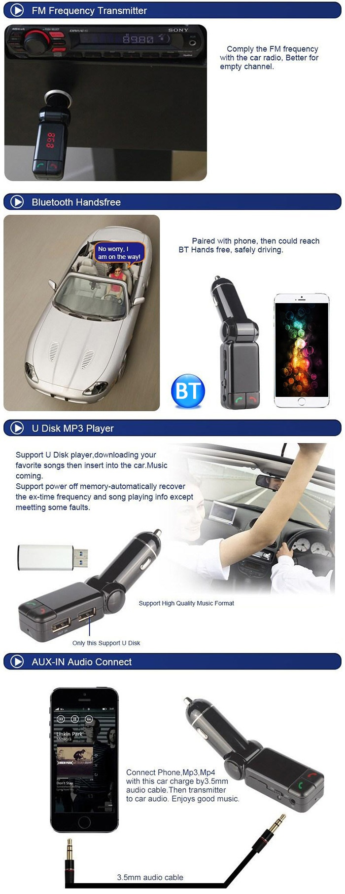 Wireless Bluetooth V2.0 Stereo Car Kit FM Transmitter MP3 USB Disk Player