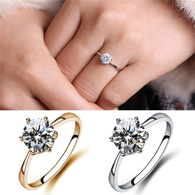 simulated wedding of center halo carat diamond female rings unique luxury faux