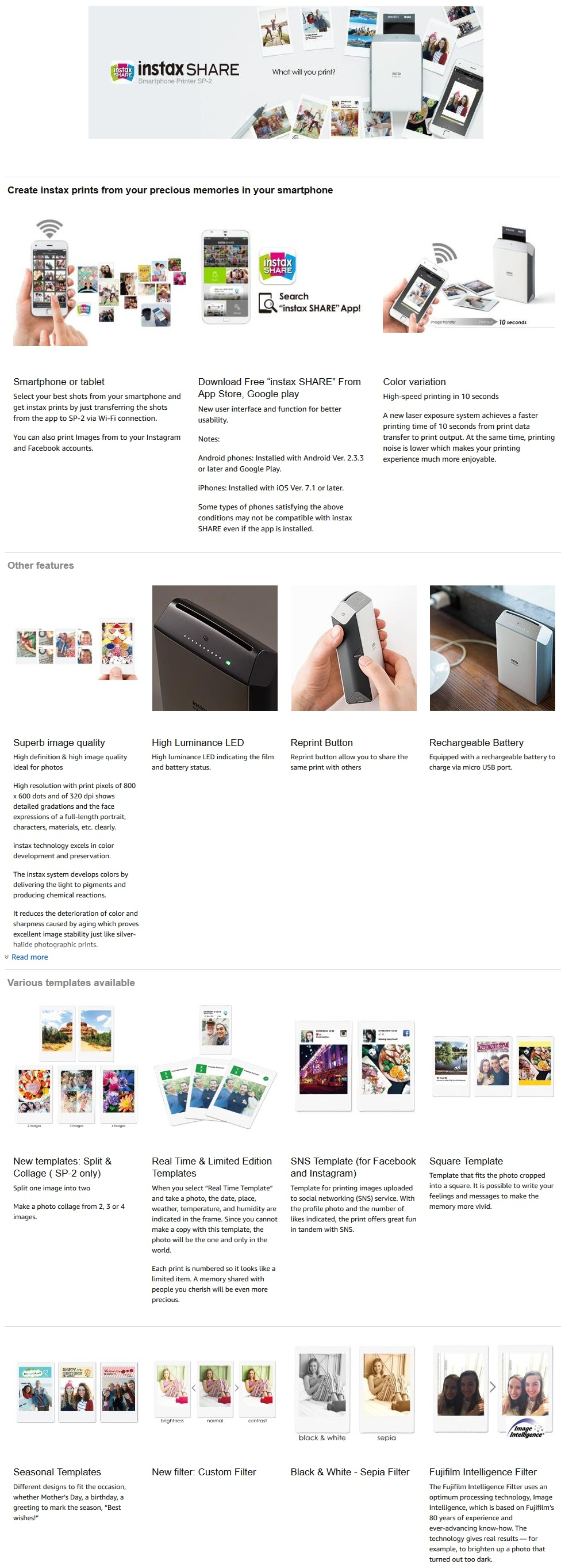 Specifications Of Fujifilm NEW INSTAX SHARE SP 2 Smart Phone Printer
