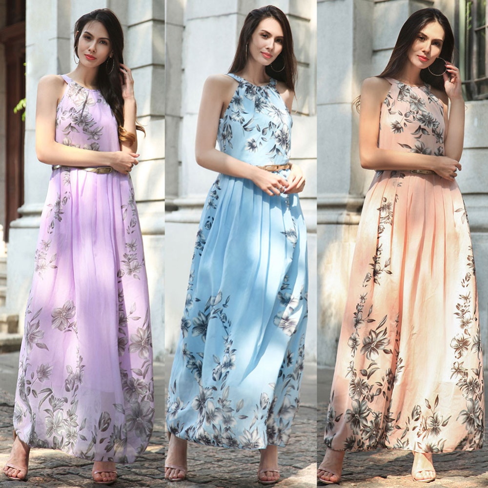 Summer Style Women New Fashion Long Maxi Dress O Neck Floral Print ...