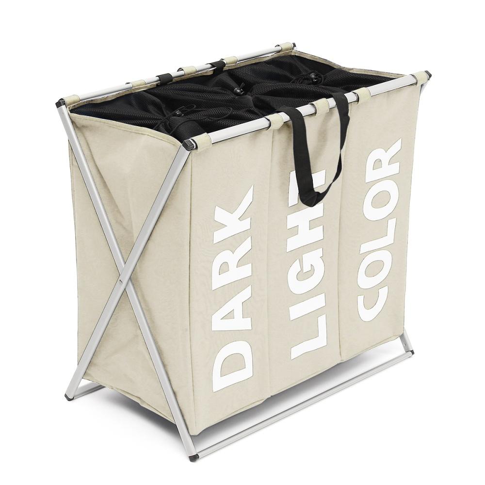 3 Section Folding Laundry Sorter Hamper Organizer Washing