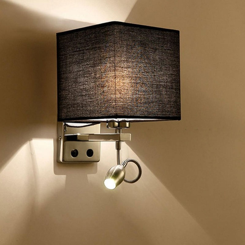 Modern led cloth wall lamp hallway bedroom bedside lights color size 270x170x220mmlwh material metalclothled main light source e27 lednot included led bulb led power 1w led switch buttonsection switch one aloadofball Images