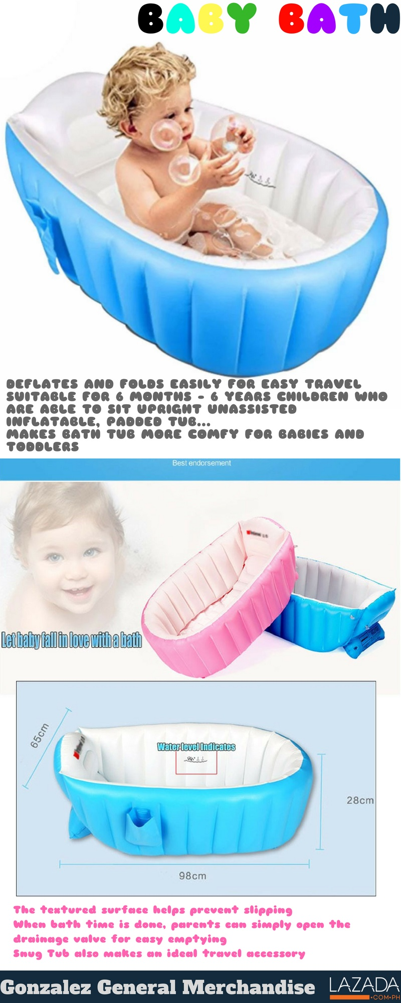 YT-226A Inflatable Baby Bath Tub (Blue) | Lazada PH