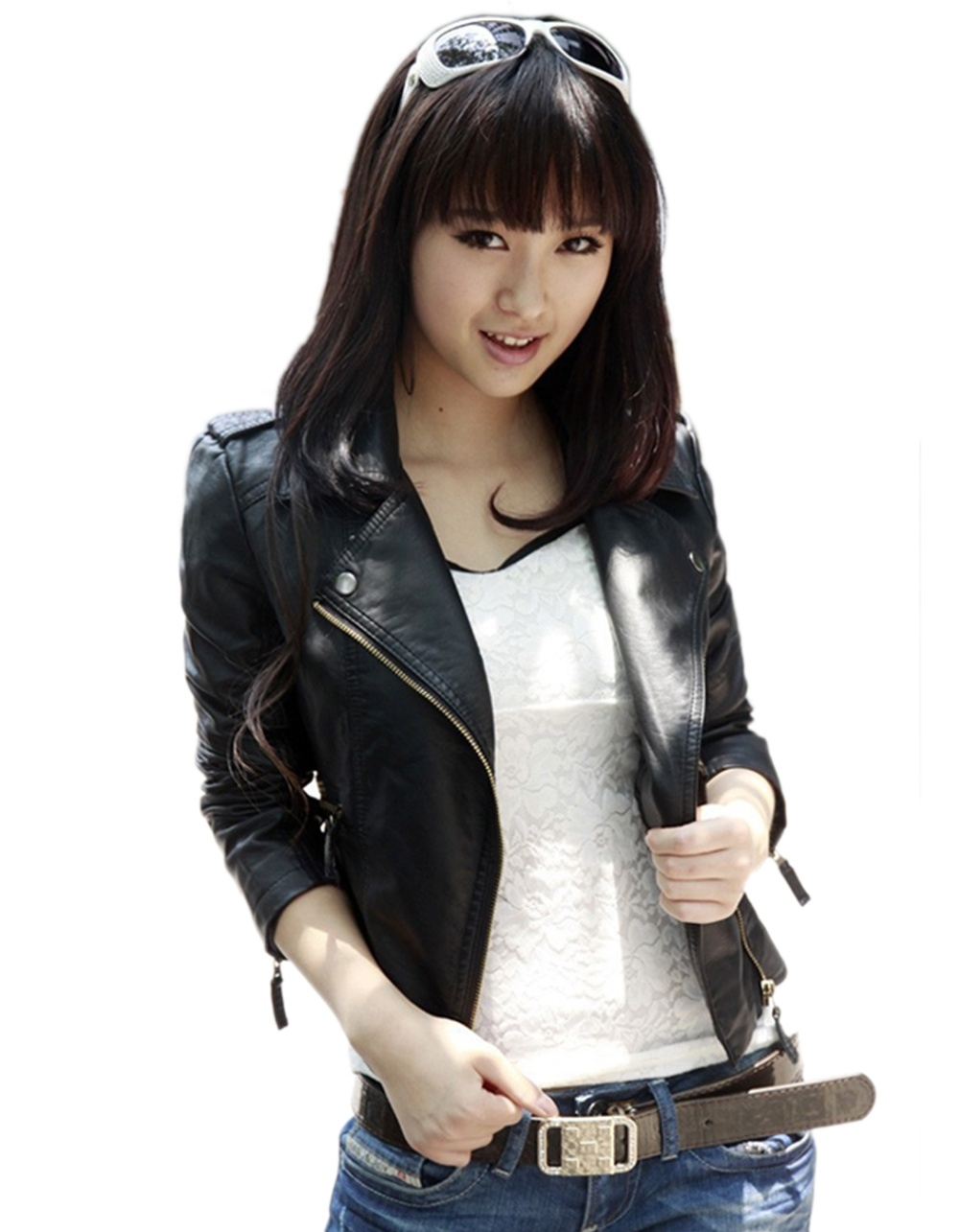 Cyber Women Motorcycle Leather Jackets Short Outerwear
