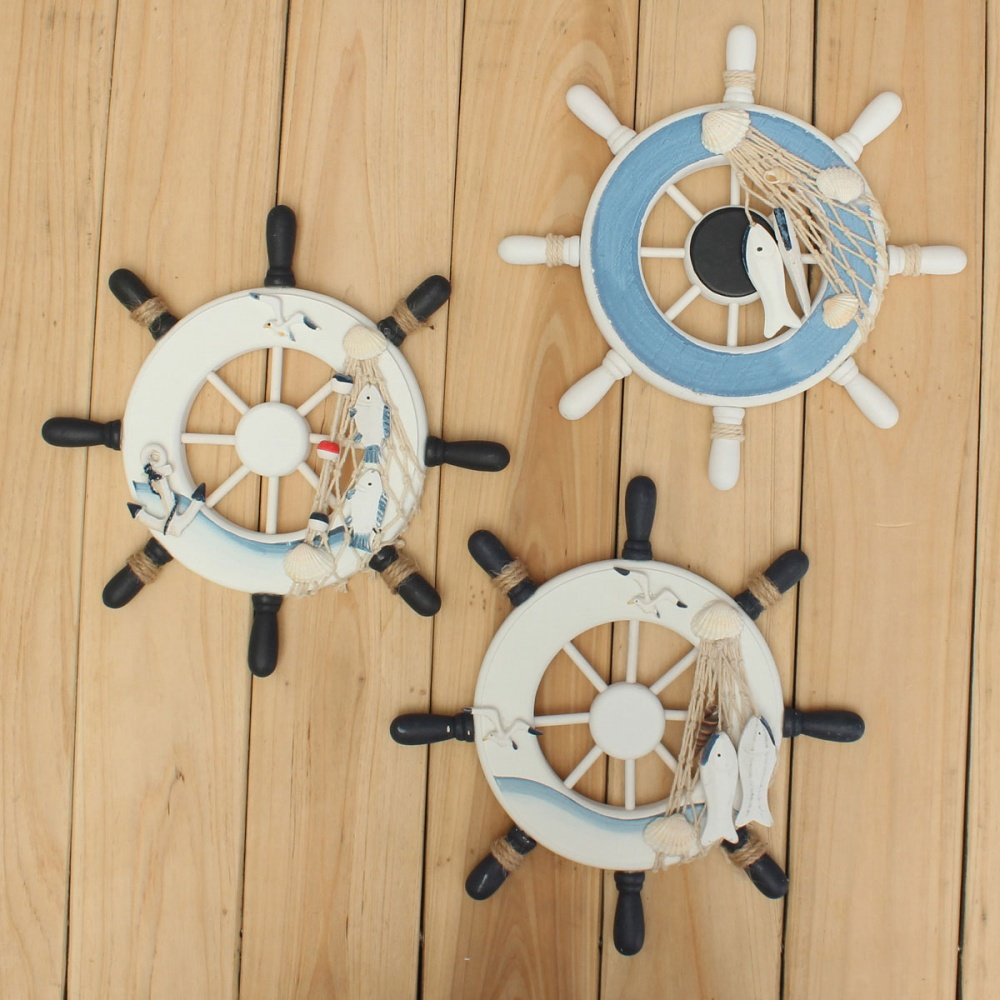 Wood boat ship wheel nautical decoration beach home rudder for Beachy decor items