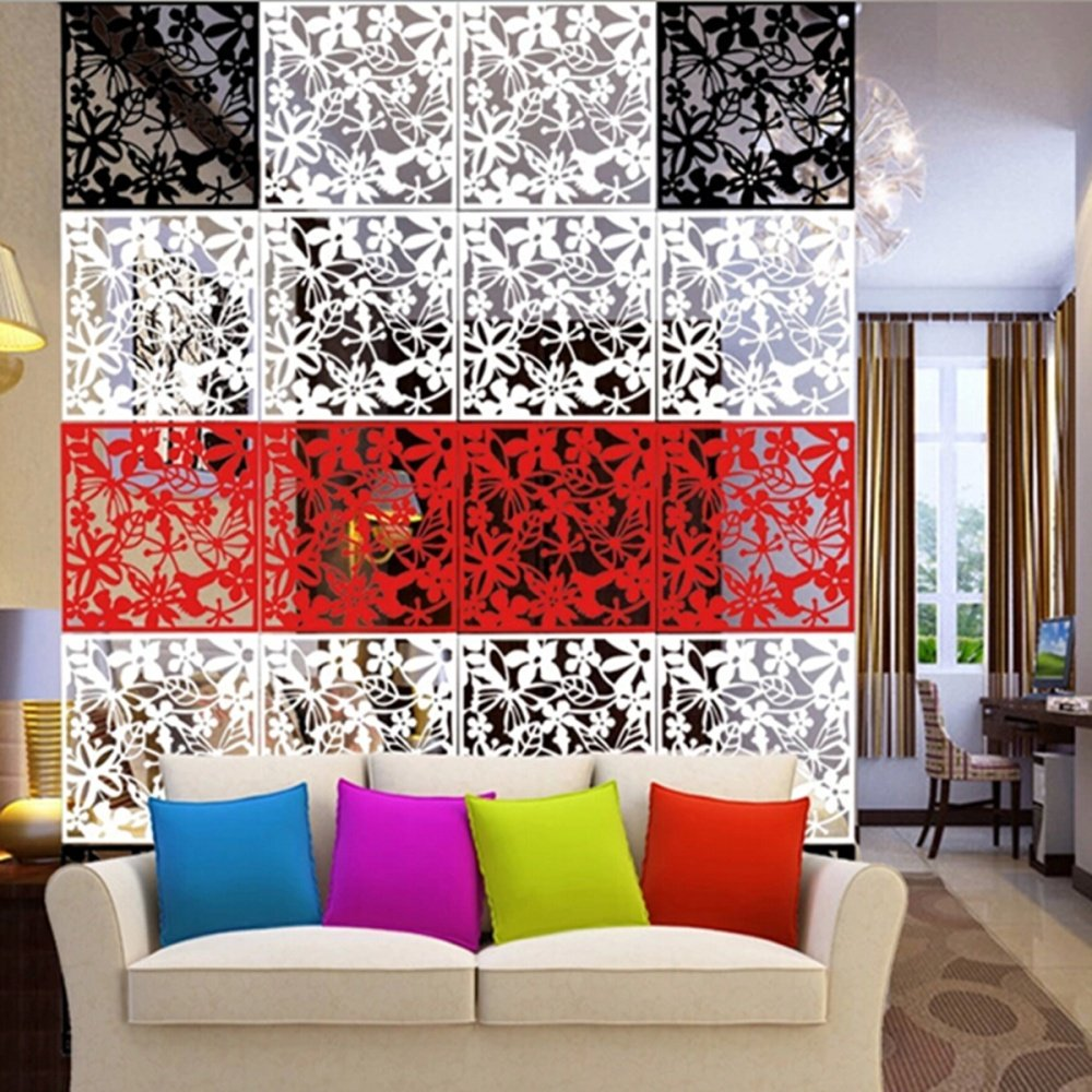 4pcs hanging screen partition room divider butterfly flower wall