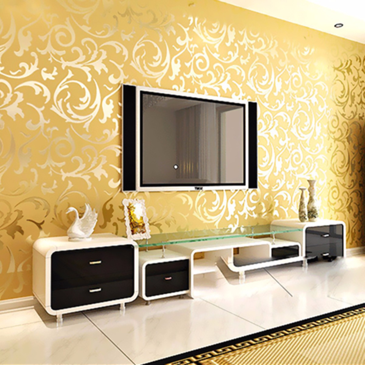 Wallpaper Roll Damask Textured Embossed Home Decor 10m