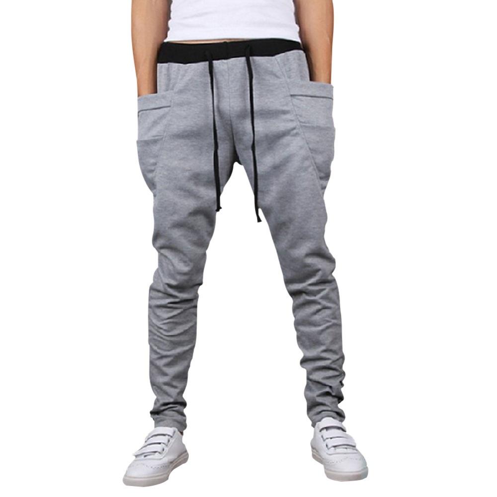 Harem Low Crotch Hip-hop Pants for Men Boys Light Grey ...