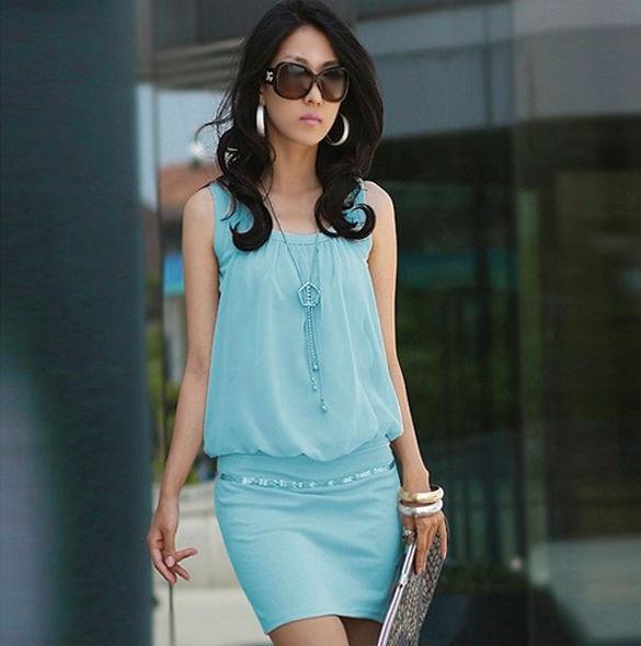 linemart sleeveless casual mini dress