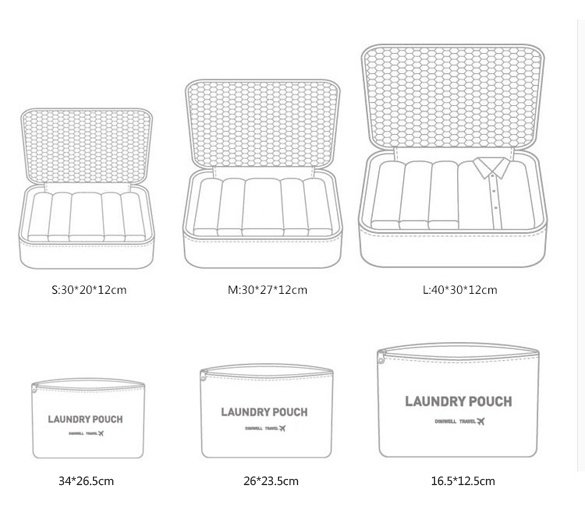 Cyber New 6PCS Travel Luggage Bag Clothes Organizer Large Medium ...