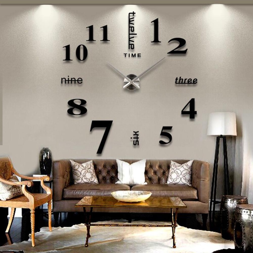DIY 3D Art Large Acrylic Mirror Wall Clock For Living Room (Black) Part 17
