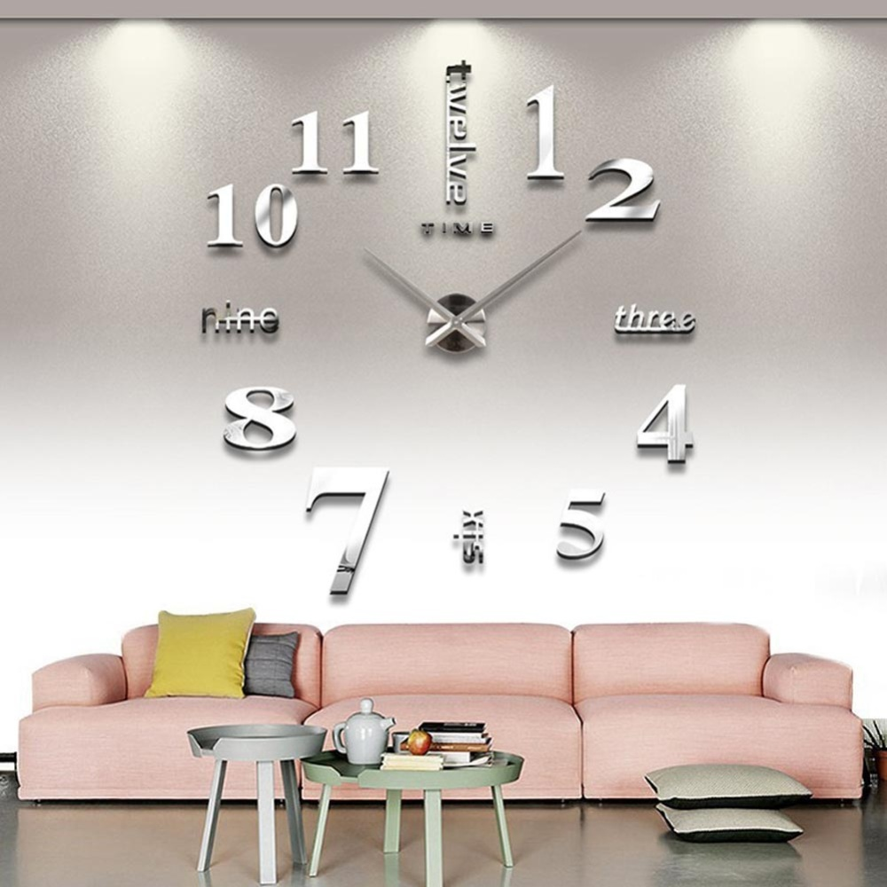 Clock for sale large clocks prices brands review in diy 3d art large acrylic mirror wall clock for living room silver amipublicfo Gallery