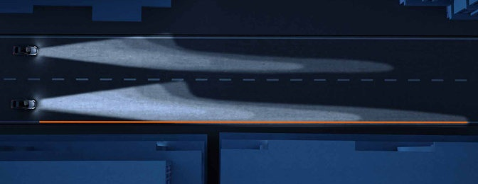 Comparison OSRAM NIGHT BREAKER UNLIMITED versus standard halogen automotive lamp.