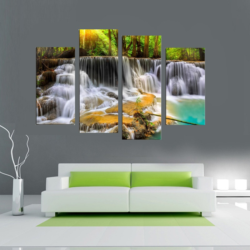 30x80cm 4 panel the waterfall with tree large hd picture for Room decor lazada