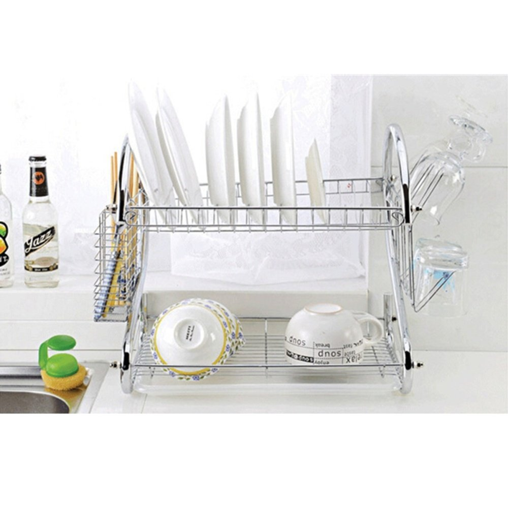 Stainless steel dish rack 2 tier space saver dish drainer drying holder sliver lazada ph - Dish rack for small space collection ...