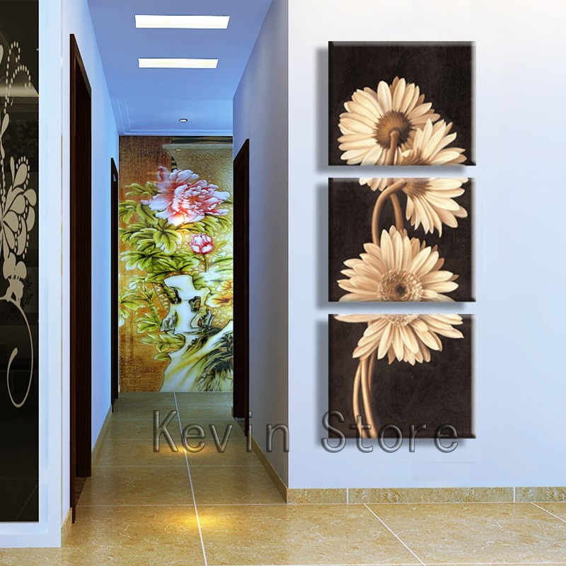 3 Panel Hot Sell Modern Wall Painting Flower Home Wall Art Cheap Picture Paint On Canvas Prints