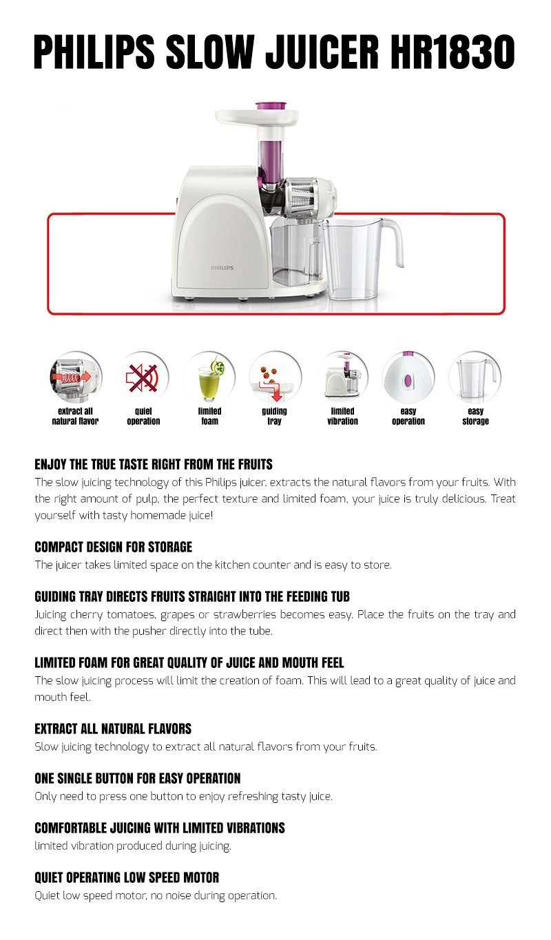Philips Slow Juicer Manual : Philips HR1830 Slow Juicer (White) Lazada PH