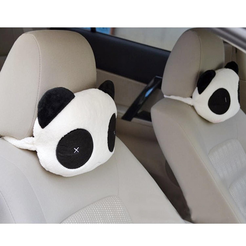 2 Pcs Cartoon Panda Car Seat Chair Head Rest Neck Cushion