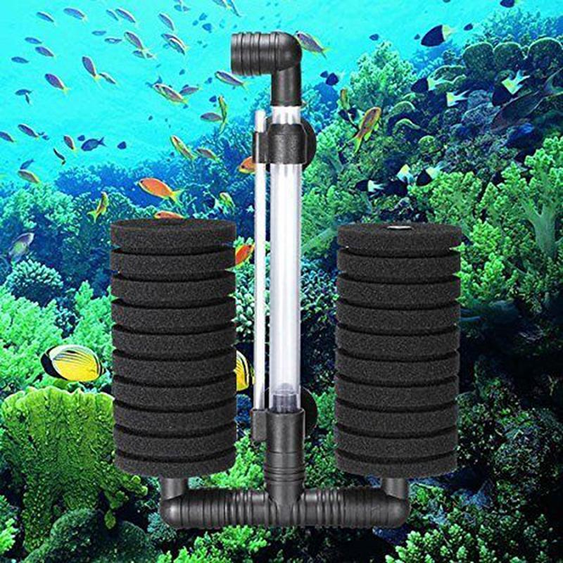 Ooplm double head air pump sponge filter for aquarium tank for 20 gallon fish tank filter