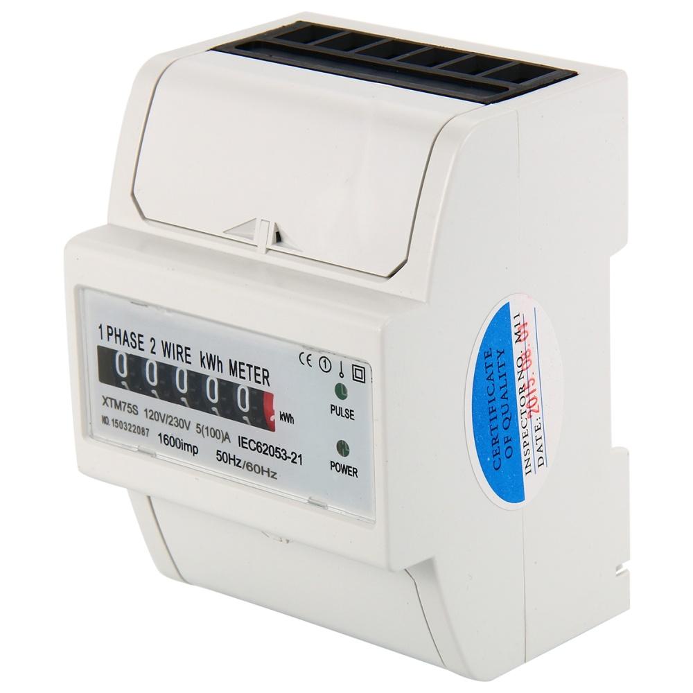 Watt Hour KWH Meter Digital Single Phase 2 Wire 230V 5(100)A SO DIN ...