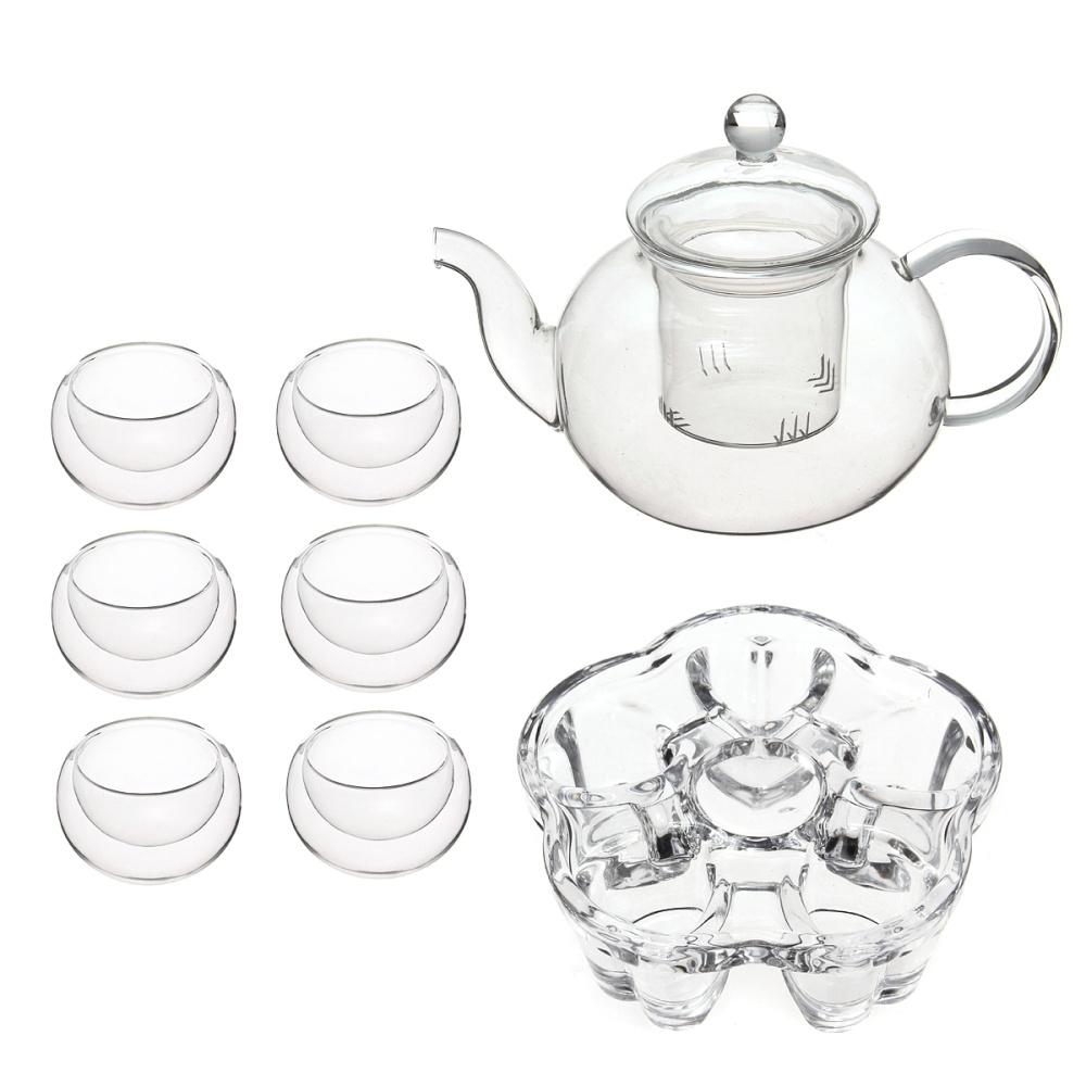600ml glass flower coffee tea pot set infuser filter   tealight warmer   6 cups