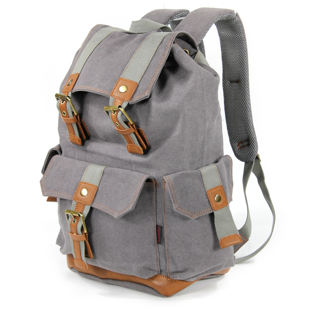 KAUKKO FS223 British Retro Classic Canvas Bag Mens Backpack Grey