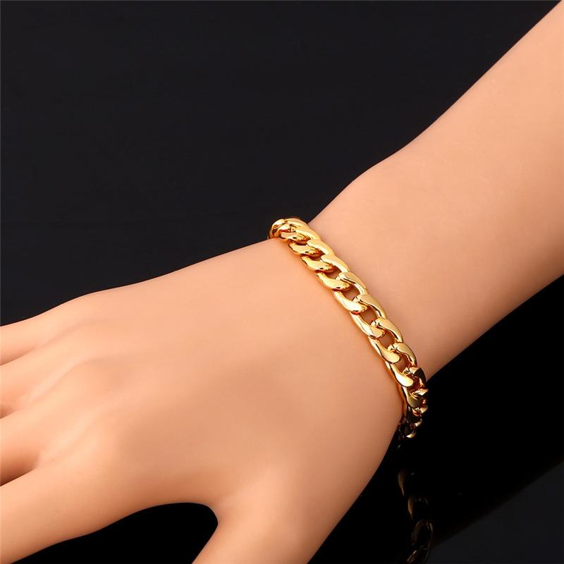 U7 Cuban Chain Link 18K Gold Plated Bracelet Men Jewelry Gold