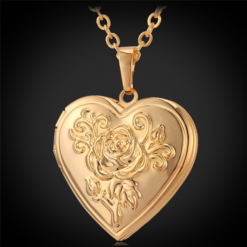 U7 flower locket pendant 18k real gold plated necklacegold image aloadofball Choice Image