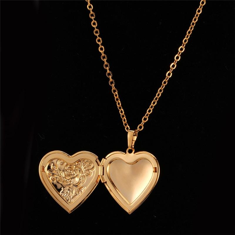 U7 flower locket pendant 18k real gold plated necklacegold image aloadofball Gallery