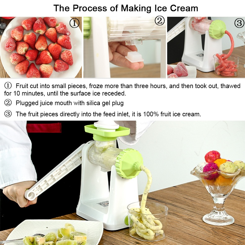 Making Ice Cream With Slow Juicer : XBootsMalone 2-in-1 Ice Cream Maker and Slow Juicer (Green) - Intl Lazada PH