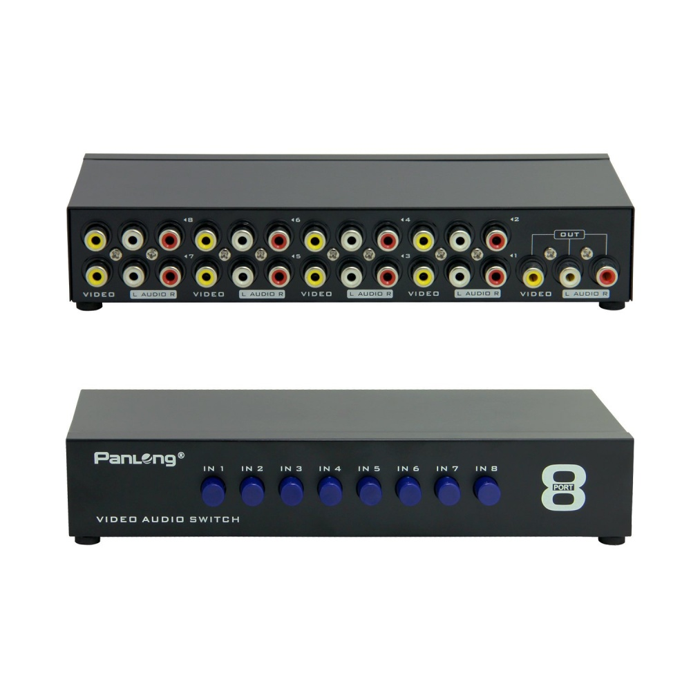 Mt Viki 8 Way Av Switch Rca Switcher In 1 Out Composite Video L R 2 Box Image