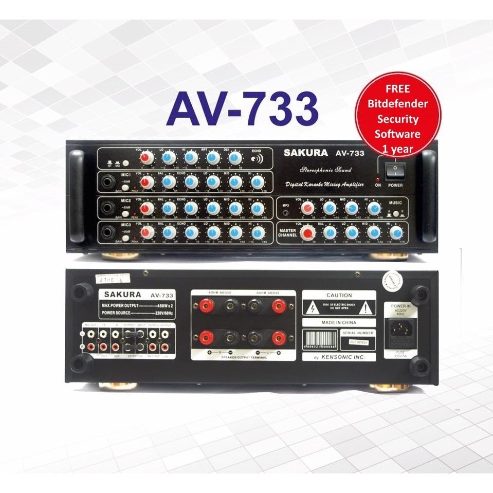 Product details of Sakura AV-733 400W X 2 Karaoke Mixing Amplifier (Black)