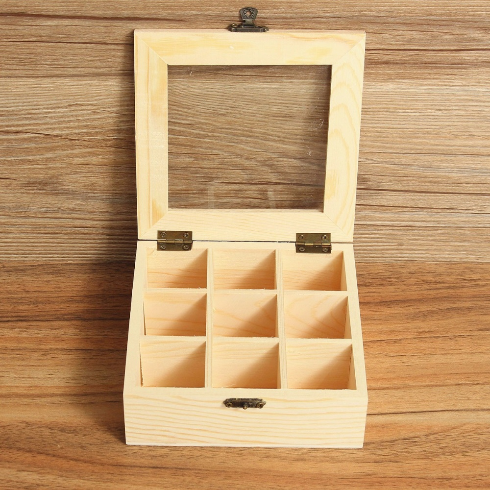 9 Compartments Wooden Tea Bag Jewelry Organizer Chest Storage Box