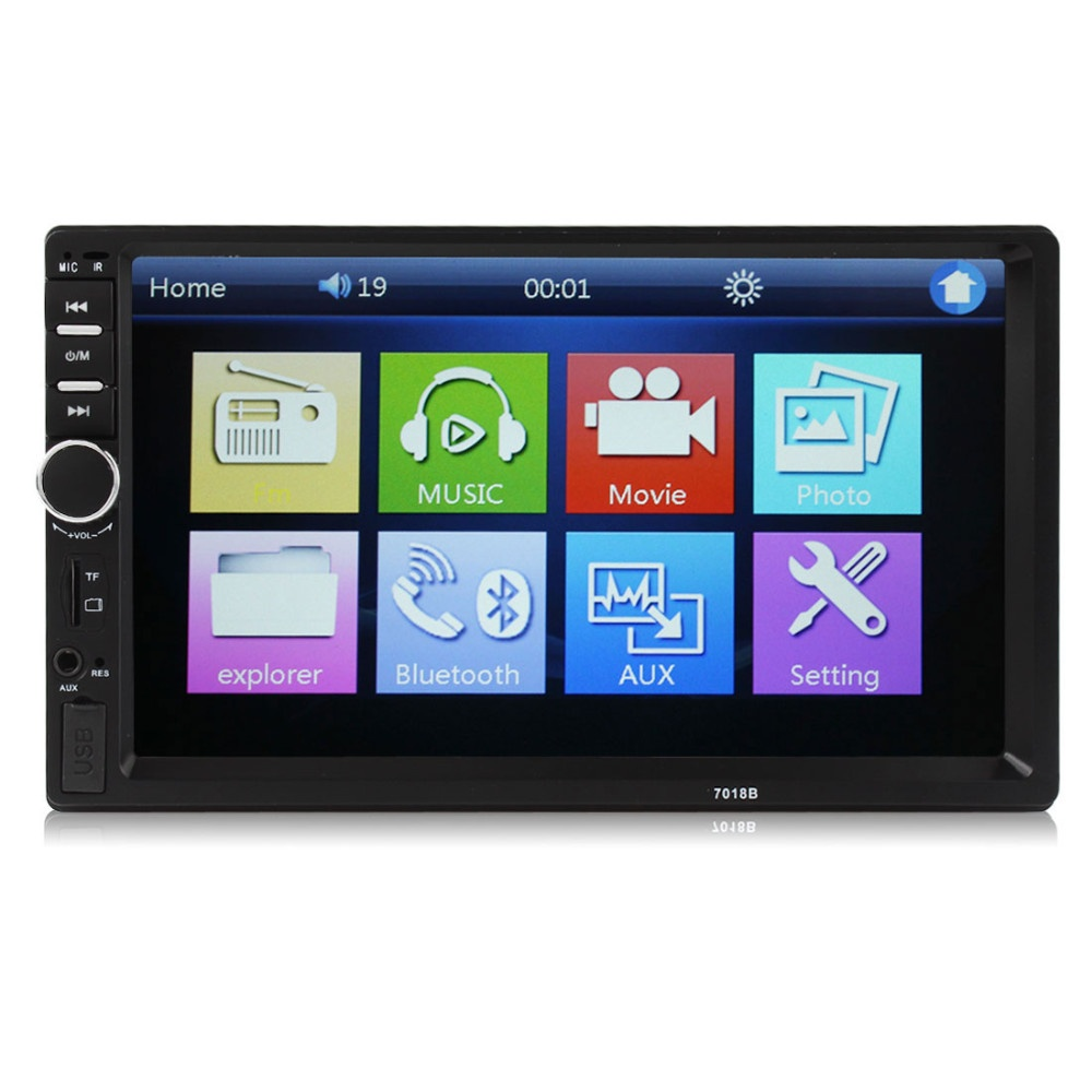 new 7018b 2 din car bluetooth audio 7 hd radio in dash touch screen stereo mp3 mp5 player usb. Black Bedroom Furniture Sets. Home Design Ideas