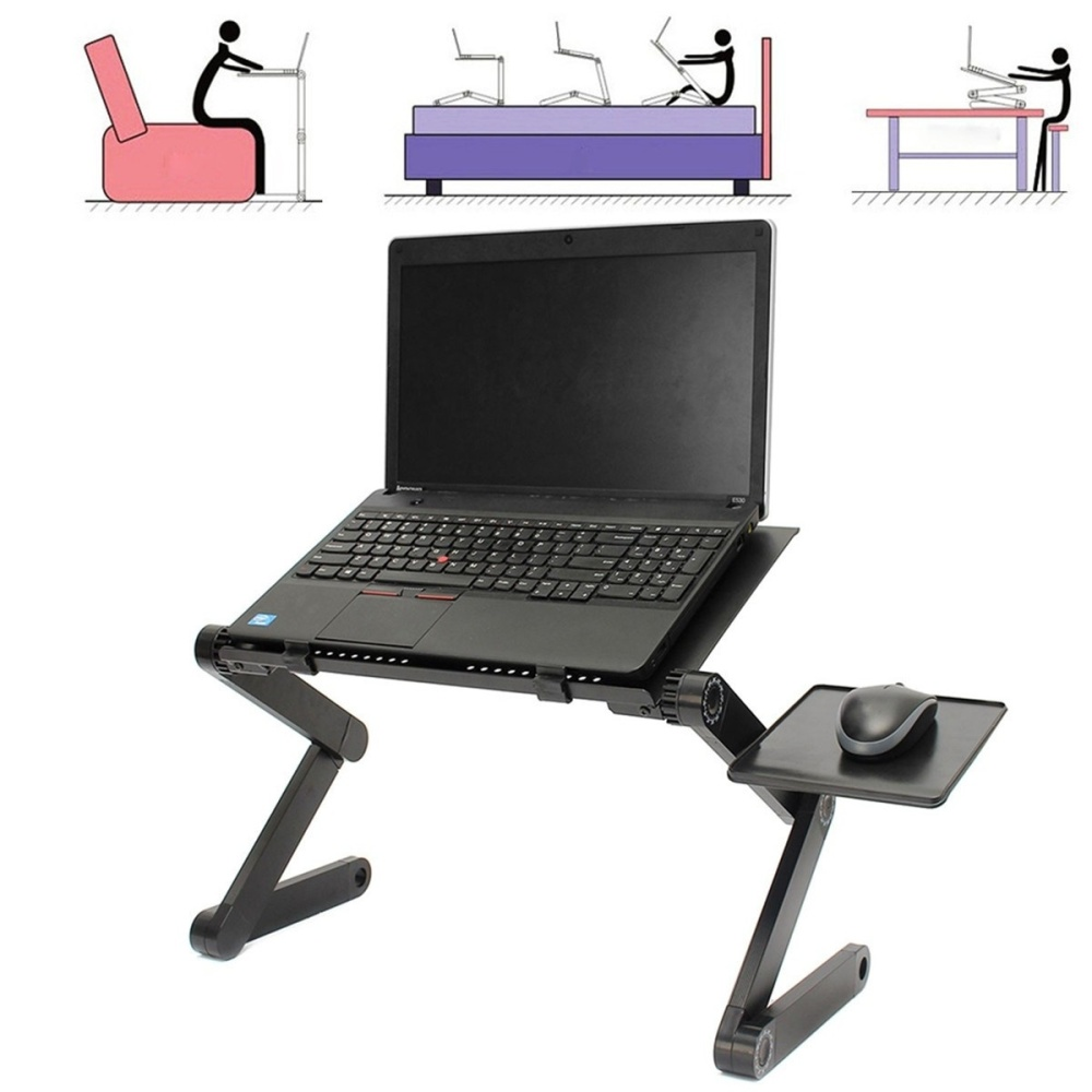 Adjustable folding collapsible laptop notebook pc desk for Pc bed table