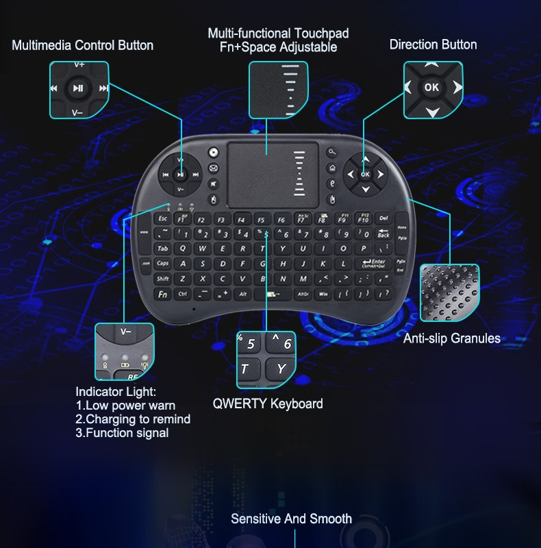 2 4g Rf Rii Mini I8 Wireless Keyboard Touch Pad Backlit Gamingkeybord For Htpc Tablet Laptop Pc Black - Daftar Update Harga Terbaru Indonesia