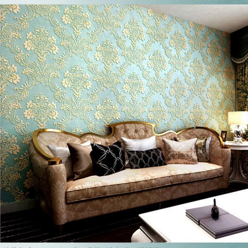 Deep Embossed 3d Wallpaper For Living Room Bedroom 1000cm X 53cm Light Blue Intl Lazada Ph