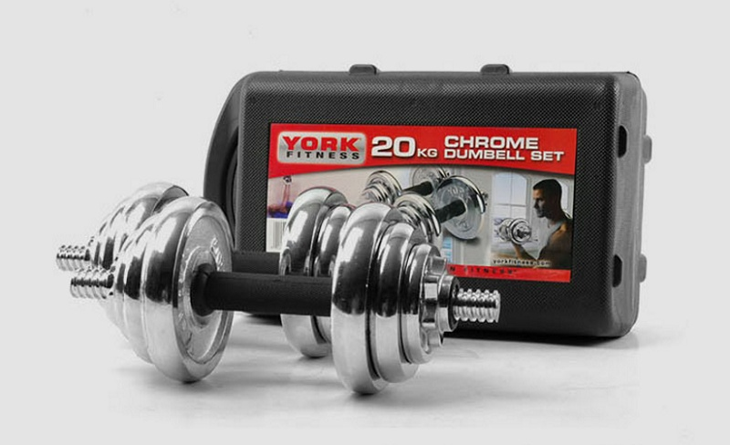 york weights. york fitness 20kg chrome dumbbell set in a plastic storage/carry case ideal for upper body work out and toning 4 x 0.5kg discs 8 1.25kg weights