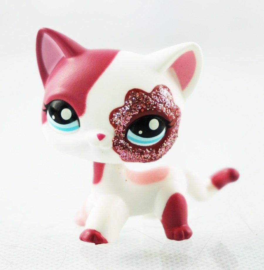 2 Pink White Sparkle Glitter Short Hair Cat Littlest Pet Shop Lps