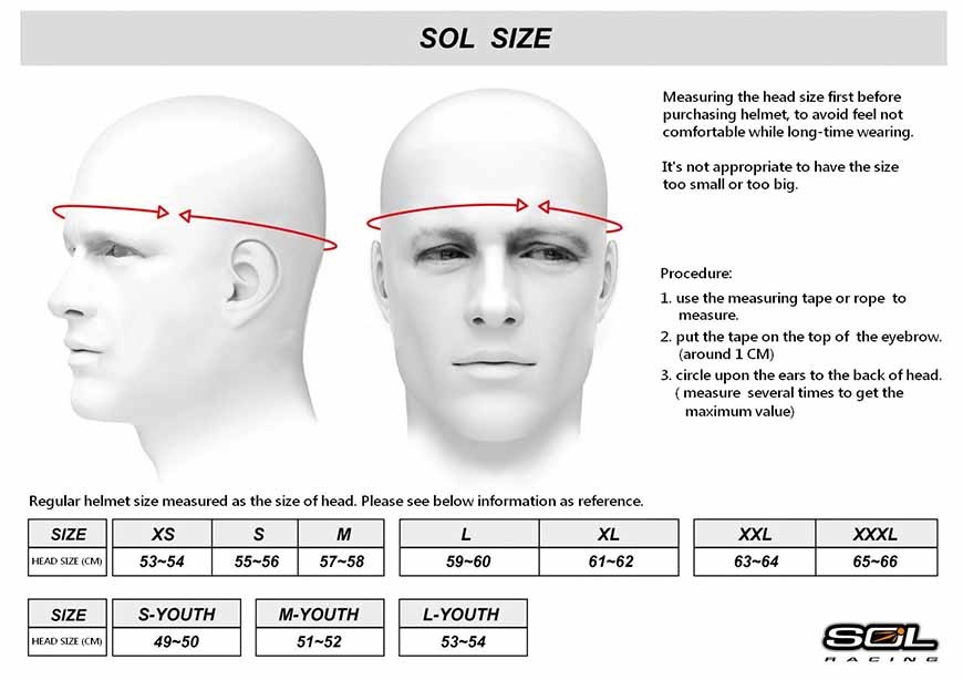 SOL Motorcycle Helmet Sizing Guide
