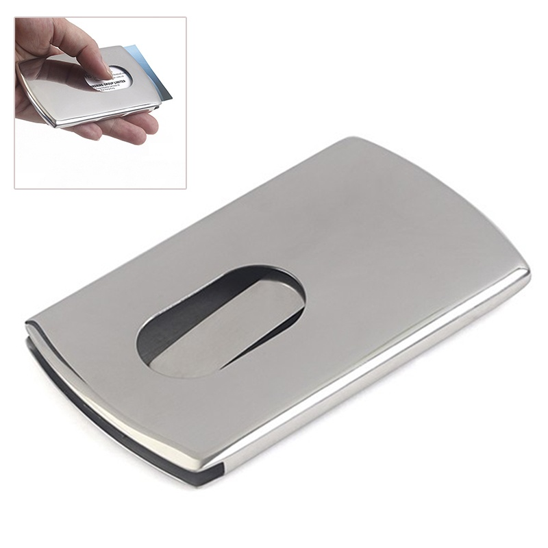 Business Card Holder Stainless Steel Pocket ID Credit Card Holder ...