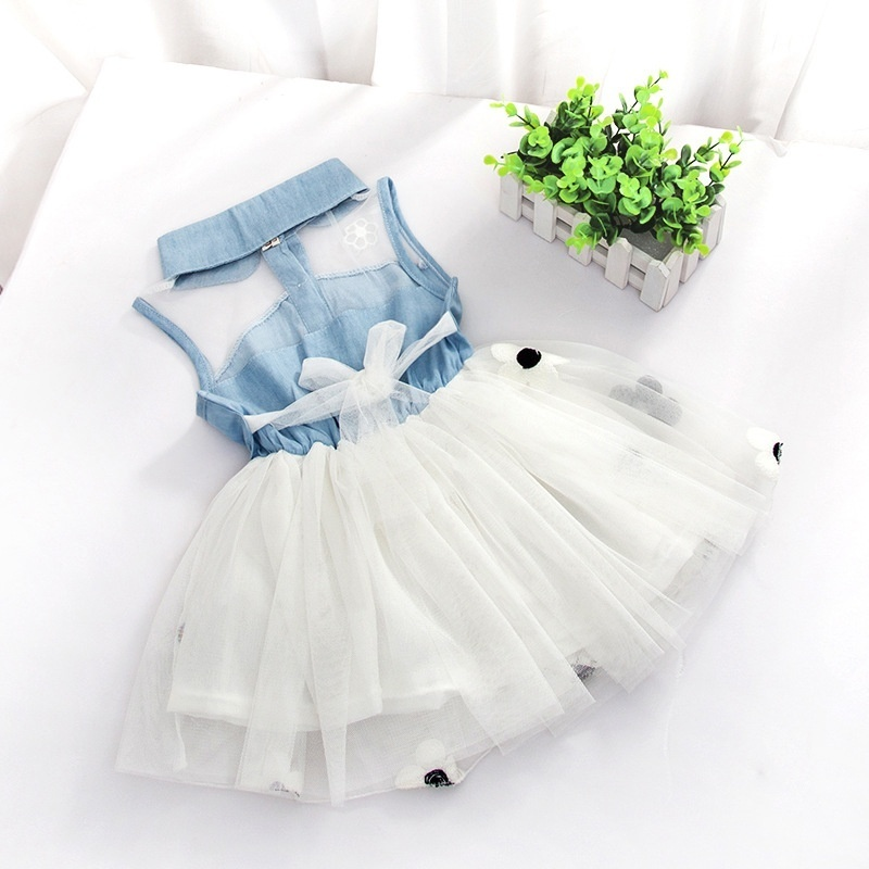 68ca86eff Amart Cute Denim Top Sun Flower Princess Tutu Dresses Baby Girls ...