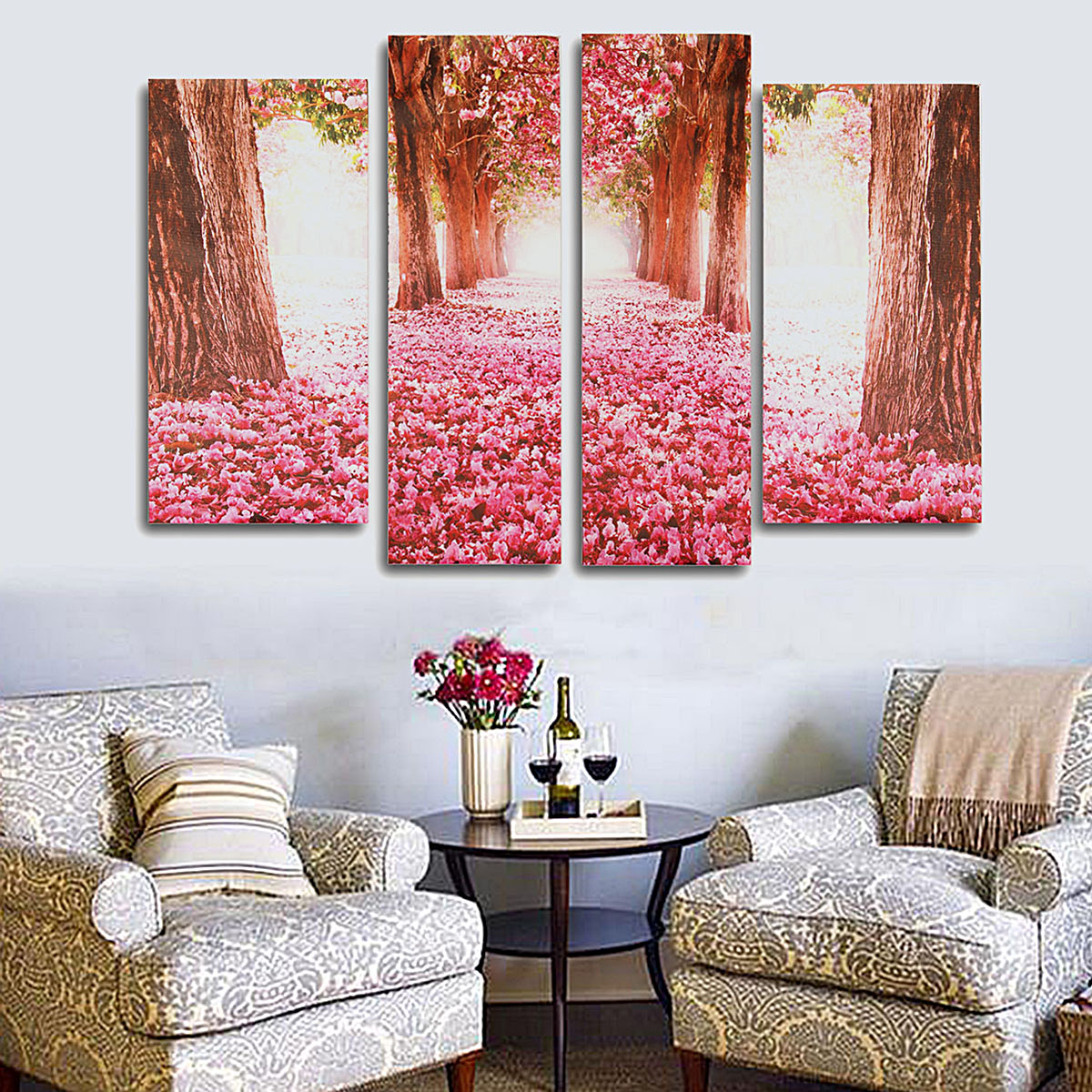Cherry blossom abstract canvas art oil painting home wall for Room decor lazada