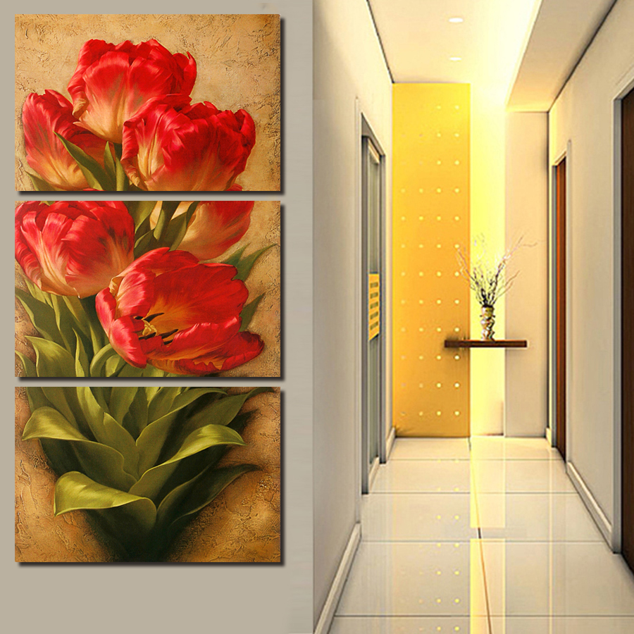 2016 New 3 Pcs Yellow Flower Wall Art Picture Modern Home Decoration ...