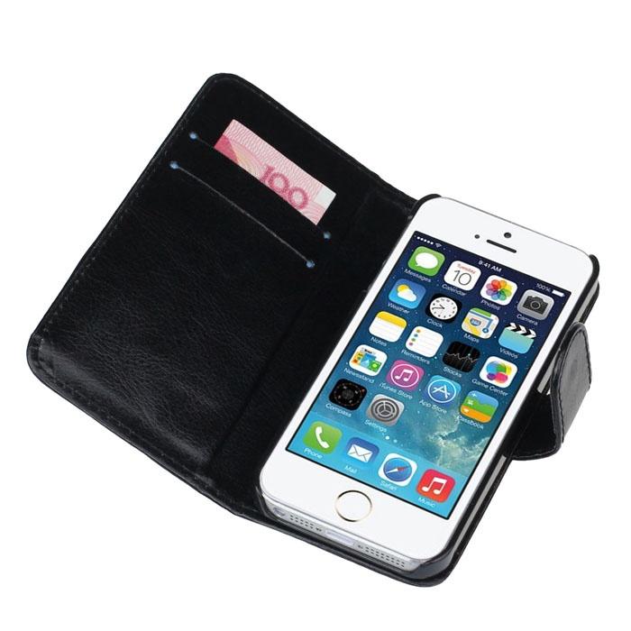 Retro Leather Flip Case For Apple IPhone SE 5S 5 Black