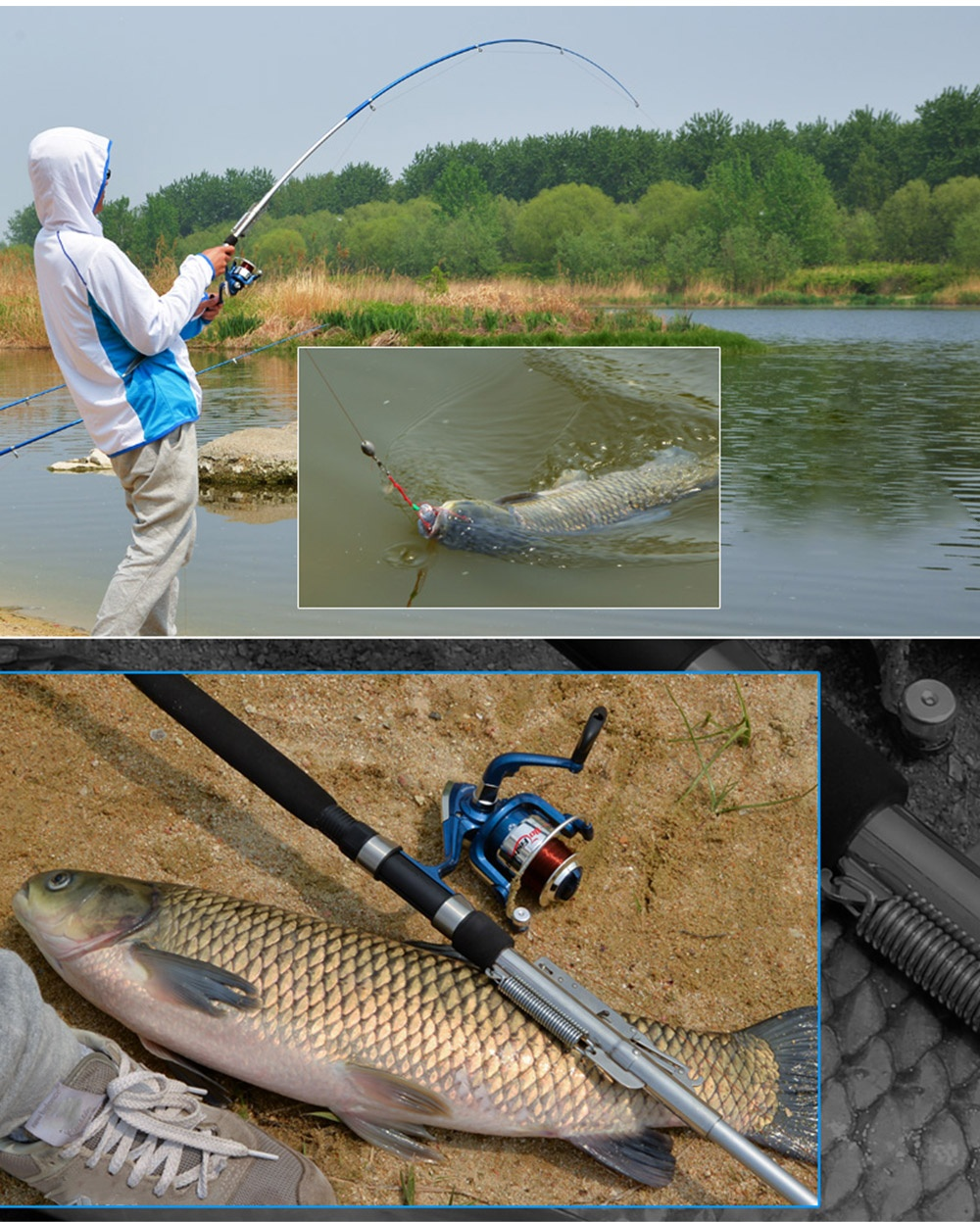 Sea river lake stainless steel automatic fishing rod fish for River fishing pole