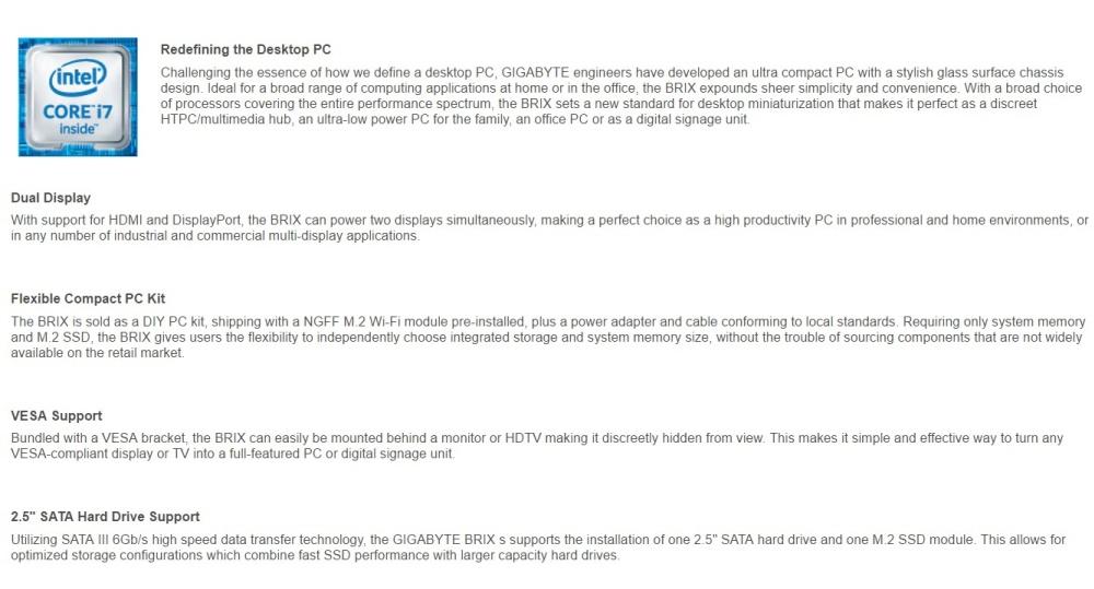 Gigabyte BRIX GB-BSi7H-6500 SKYLAKE Intel Core i7-6500U Mini PC Barebone  Philippines