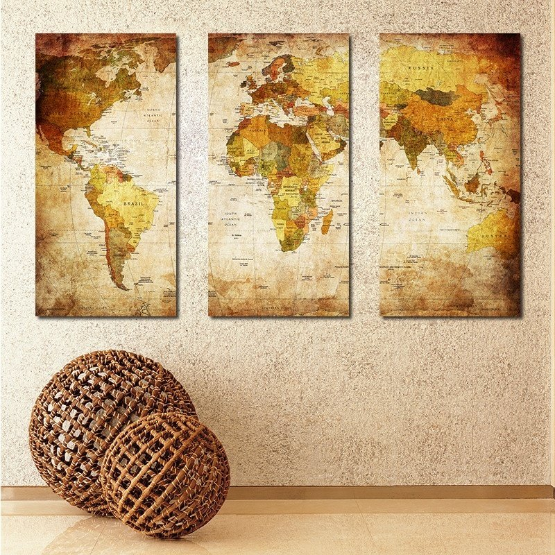 3 Pieces Household Inkjet Painting World Map Modern Wall Painting ...
